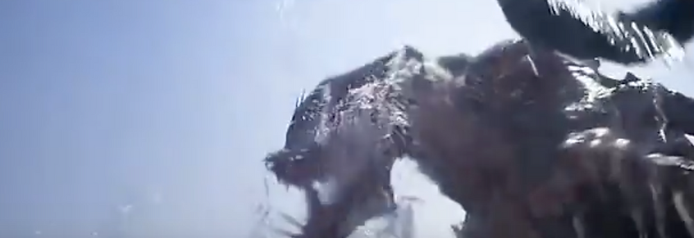 Fig.28  Above the sea surface, the creature attacks Justin Jones in a quick cut.   Image: Youtube