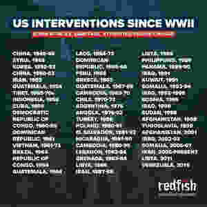 FILE PHOTO: Infographic work on 52 US interventions since the end of World War 2 (1945-).  Image: Redfish