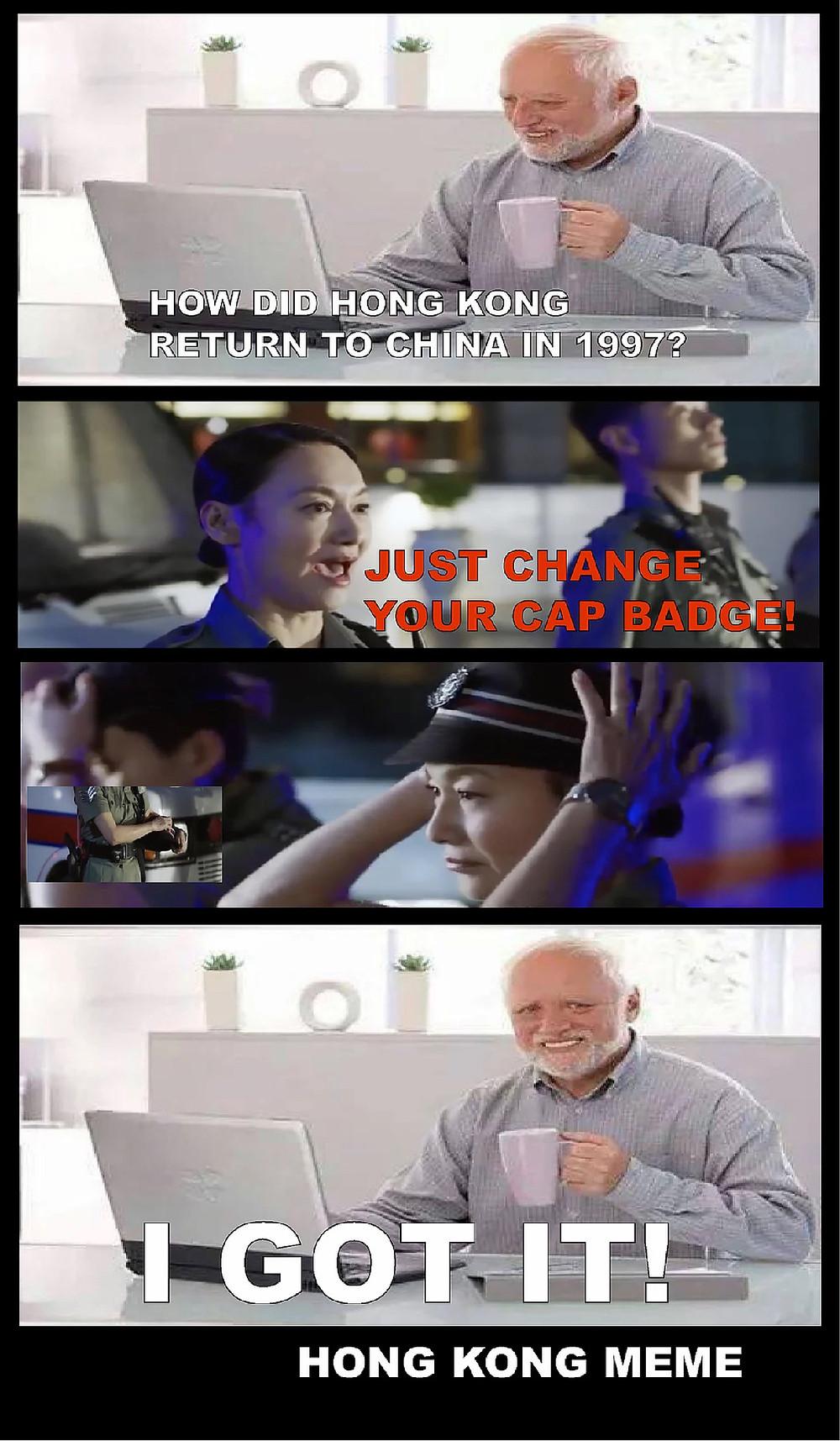 FILE PHOTO: Hong Kong Meme on the Lack of Decolonization.   ©imgflip/Huaxia Film Distribution Company; Ryota Nakanishi