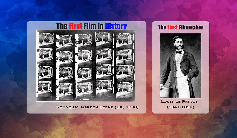 FILE PHOTO: Roundhay, 1888 original 20 frames (L) and Louis Le Prince (R)  Image: Public Domain