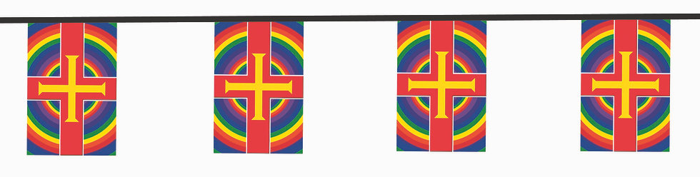 Guernsey Flag Rainbow Bunting circles 10 meter polyester fabric