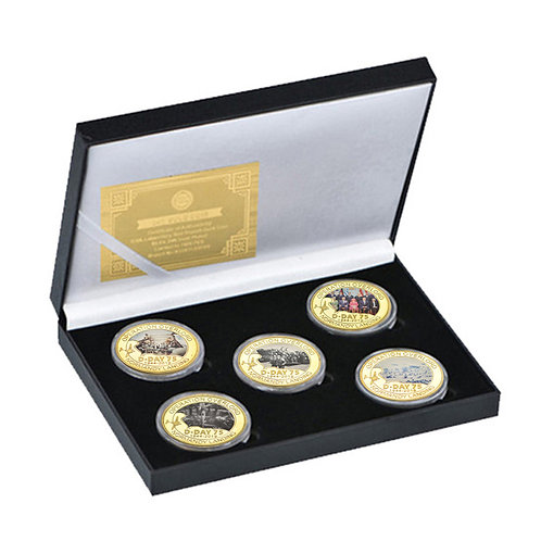75th Anniversary of D Day Landing Presentation Collectors Coin Set of 5