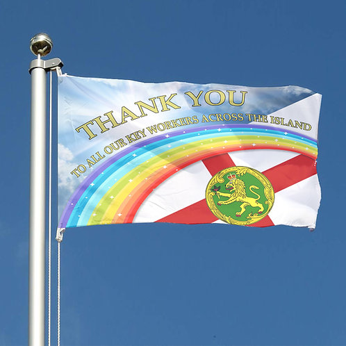 Thank You Key Workers Rainbow Flag Channel Islands Alderney Together
