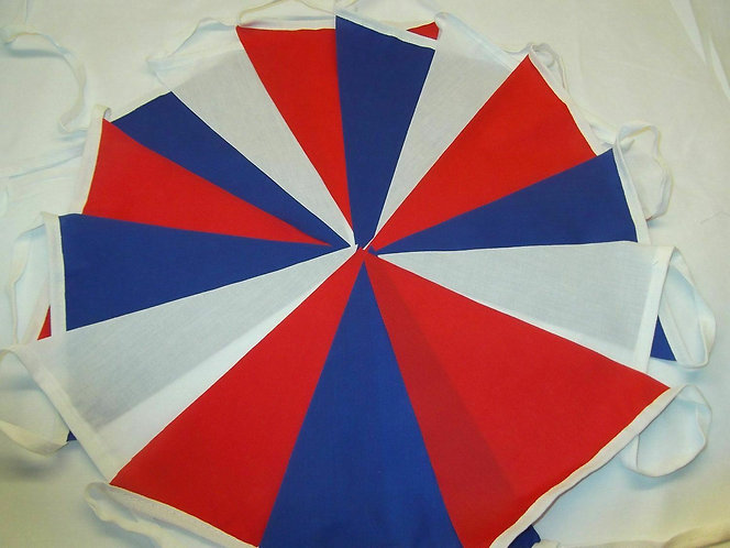 UK Red White and Blue Pennant Bunting Fabric 10m