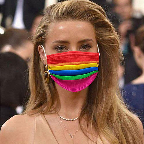 Face Mask Rainbow Design triple layer disposable pack of 10