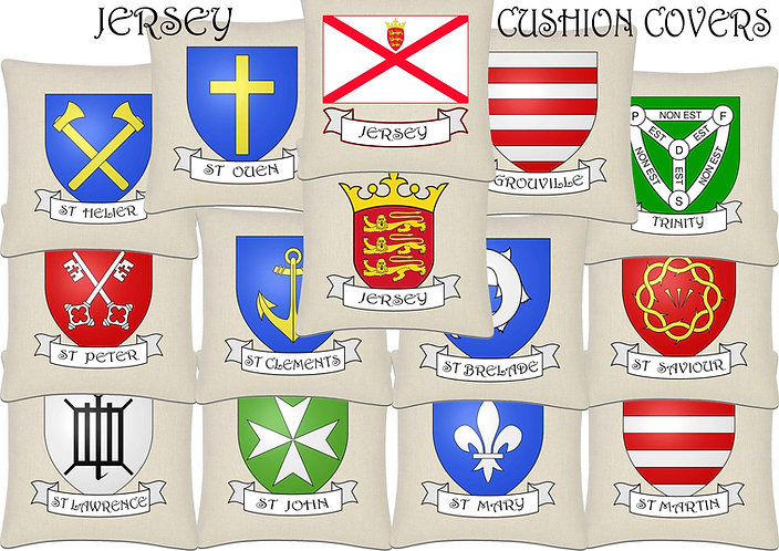 Jersey island Parish and Flag Cushion Cover 45x45cm Linen