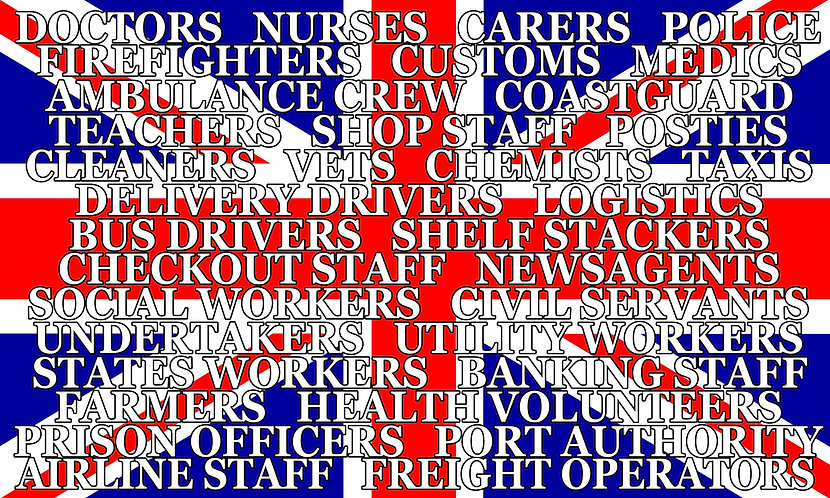 Key Workers Thank You Flag Union jack England Scotland Wales Northern Ireland