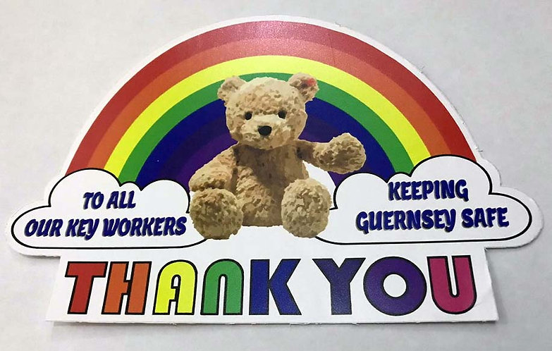Rainbow Thank You GUERNSEY Key Workers NHS Together pvc sticker 200mm