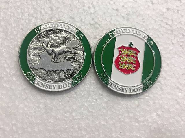 Guernsey Donkey Memento Coin - Proud to be - Green Flag Old Sports Flag Edition