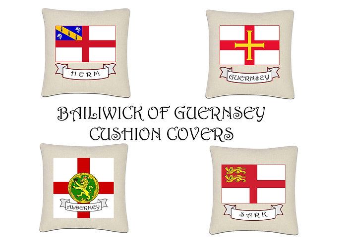 Bailiwick islands of Guernsey Flag Cushion Cover 45x45cm Linen