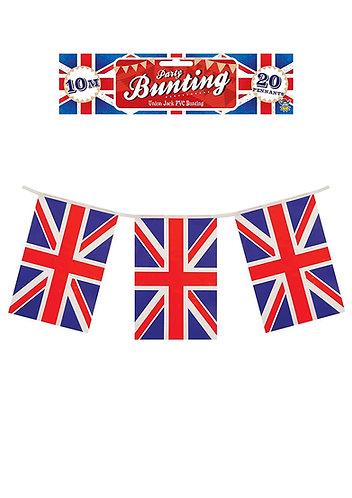 Union Jack UK 8 meter plastic Bunting single sided