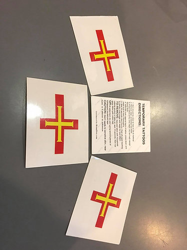 Guernsey Flag temporary tattoo pack of 5