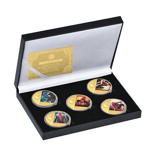 Spiderman Peter Parker Marvel Presentation Collectors coin 5 piece set