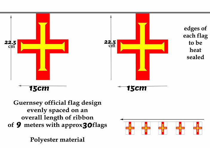Guernsey Bunting flags 9m polyester