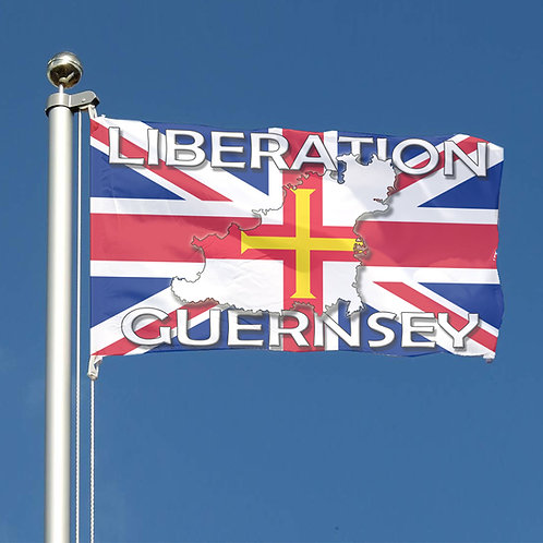 Guernsey Flag for Liberation Day with Union Jack Flag and Island map