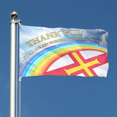 Thank You Key Workers Rainbow Guernsey Together Flag LGBTQ Pride