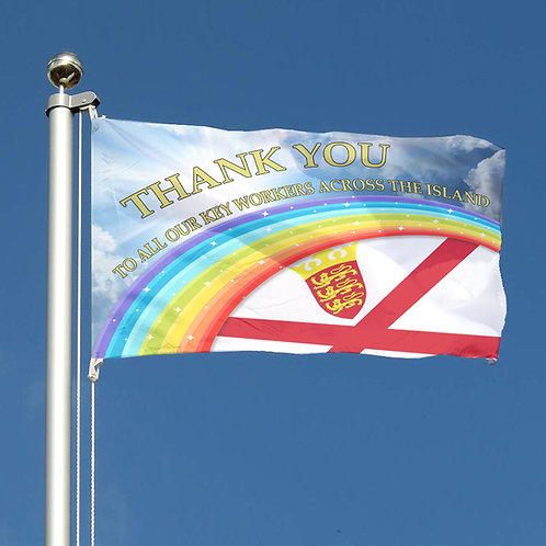 Thank You Key Workers Rainbow Flag Channel Islands Jersey Together