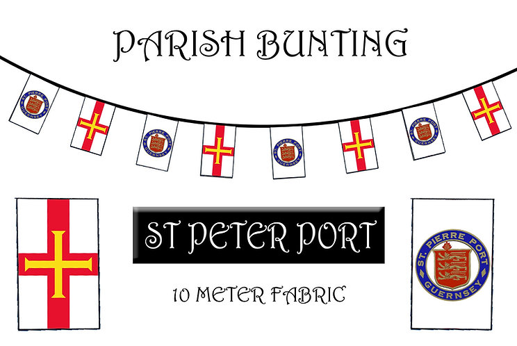 Guernsey Parish Crest Bunting Fabric 10 meter 20 flags with Guernsey Flag