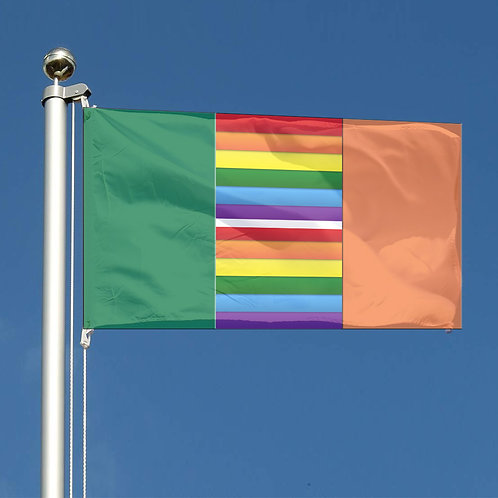 Key Workers Thank You Rainbow stripes Republic of Ireland Together flag and LGBT