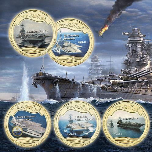 World War 2 Aircraft Carriers USA Presentation Collectors Coin Set of 5