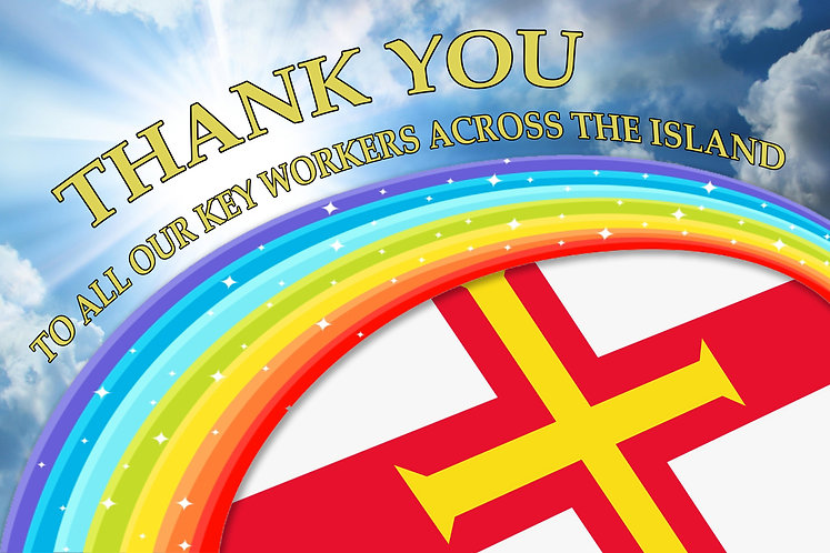 *BONUS ADD ON* - Thank You Key Workers Rainbow Guernsey Together Flag - (See Con
