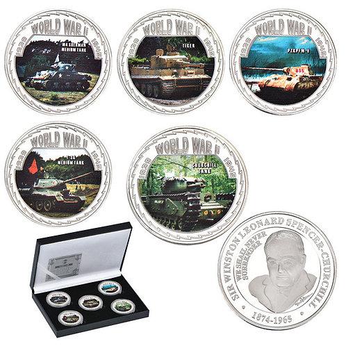 World War 2 Tanks Presentation Collectors Coin Set of 5