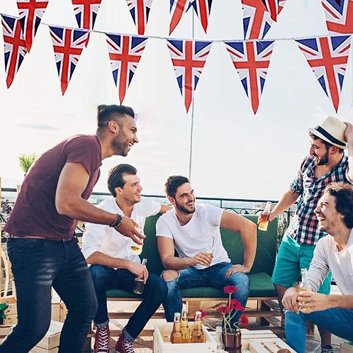 Red White Blue Fabric Pennant Bunting Flags Union Jack Style 8-10 meter