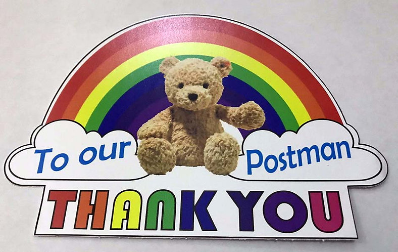 SALE ITEM - Rainbow Thank You POSTIE Key Workers NHS Together pvc sticker 200mm