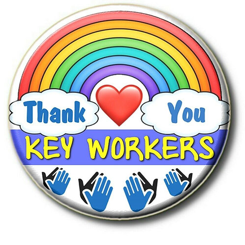 SALE ITEM - 2 X Rainbow Thank You Key Workers Clapping HandsButton Badge