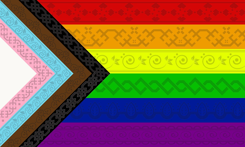 Rainbow  Flag Pride LGBTQ+ all inclusive with embedded patterns