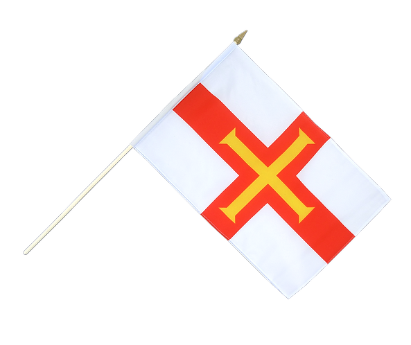 Guernsey Hand Waving Flag for Liberation large medium and small sizes