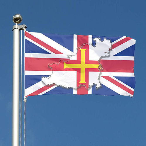Union Jack Flag and Guernsey Island map and Guernsey Flag Design