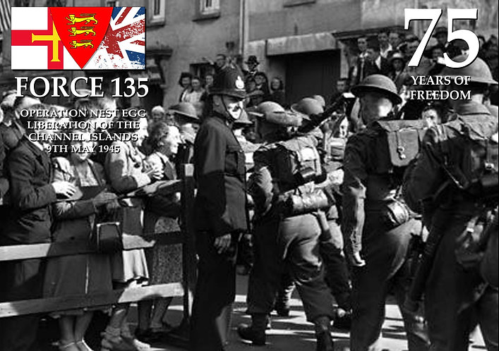 Force 135 liberation Jersey Silk Poster 75th 9 may 1945 black and white photo