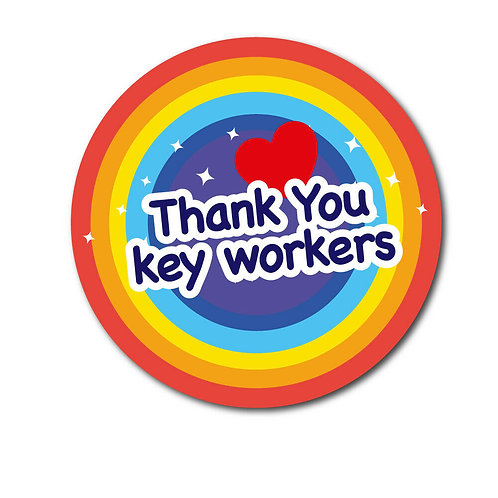 SALE ITEM - Rainbow Thank You Key Workers PVC Sticker 200mm NHS support