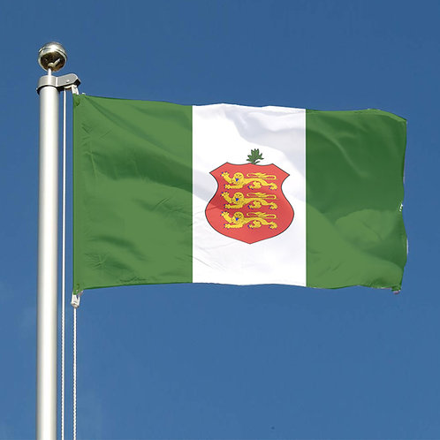 Guernsey Green Sports Flag Unofficial with Crest and hand flags