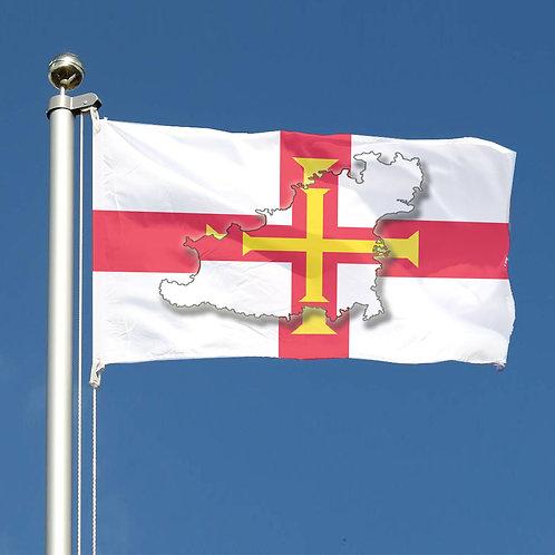 Guernsey Island map overlaid onto Guernsey Flag Design