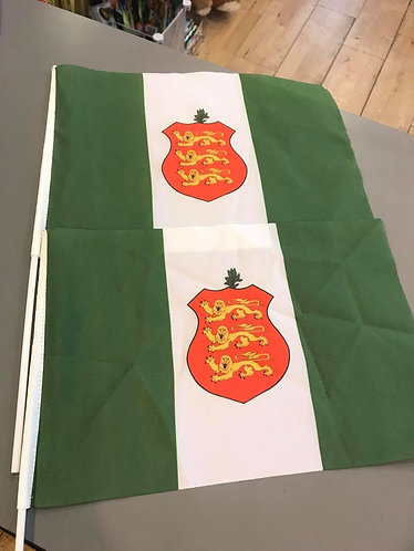 Guernsey Old Green Sports Flag Unofficial with Crest Hand Waving