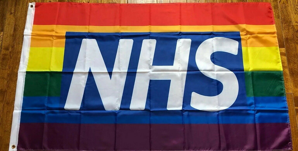Rainbow Polyester Fabric Flag 5x3 ft NHS Stay Safe