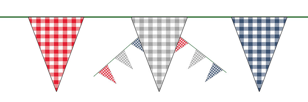Red White Blue Fabric Pennant Bunting Flags Retro Vintage Style 10 meter