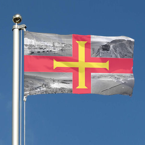 Guernsey Flag Design with each quadrant showing scenes of the Bailiwick Islands