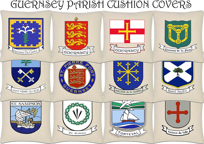 Guernsey Island Parish and Flag Cushion Cover 45x45cm Linen