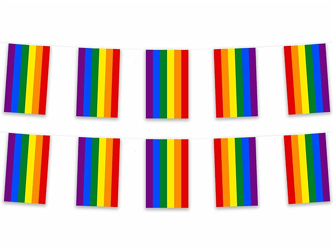 Rainbow Polyester Fabric Bunting Flags 5 Meter NHS Together Stay Safe Pride