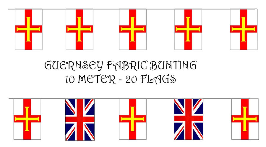 Guernsey and UK Union Bunting flags 10m Liberation 9th May