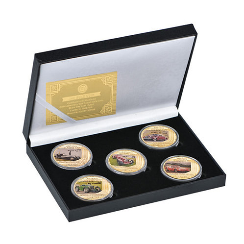 Vintage Classic Cars Presentation Collectors Coin Set of 5