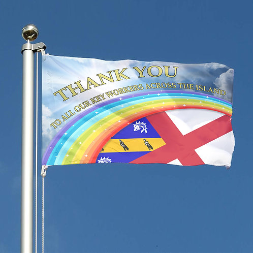 Thank You Key Workers Rainbow Flag Channel Islands Herm Together