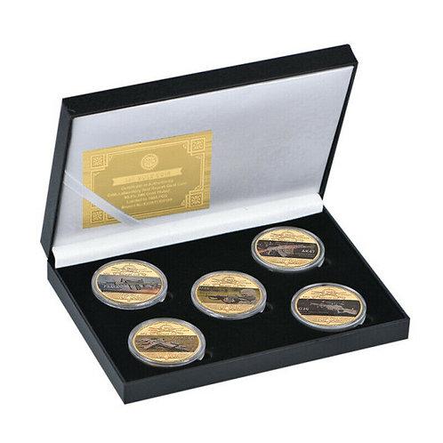 Machine Guns Presentation Collectors Coin Set of 5