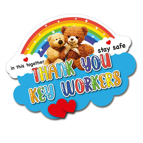SALE ITEM - Rainbow Thank You Key Workers PVC Sticker 180x140mm Size