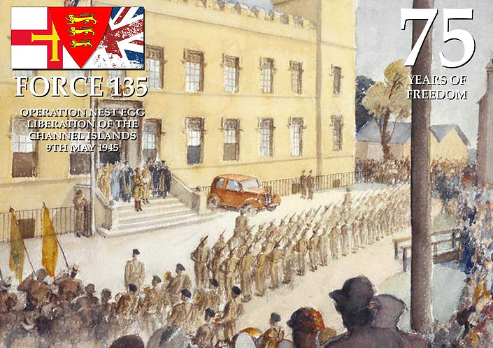 Force 135 liberation Guernsey Silk Poster 75th Elizabeth College 9 may 1945