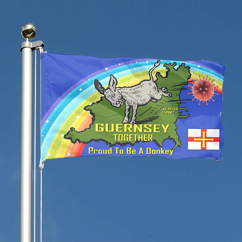 Guernsey Together Proud to be a Donkey Flag - Covid 19 Rainbow