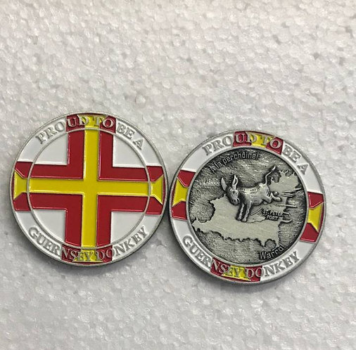 Guernsey Donkey Memento Coin - Proud to be - Official Flag Edition